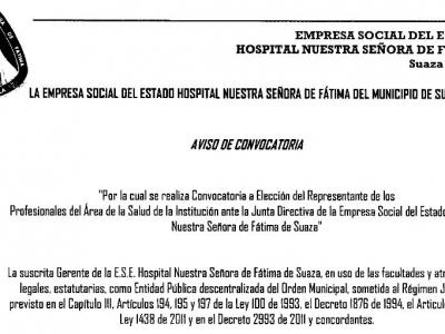 CONVOCATORIA - ELECCIÓN DEL REPRESENTANTE DE LOS PROFESIONALES DE LA SALUD ANTE LA JUNTA DIRECTIVA.