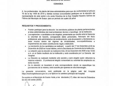 CONVOCATORIA - LA EMPRESA SOCIAL DEL ESTADO HOSPITAL NUESTRA SEÑORA DE FATIMA DEL MUNICIPIO DE SUAZA
