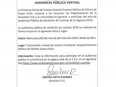 Convocatoria Rendición de Cuentas 2019 Virtual