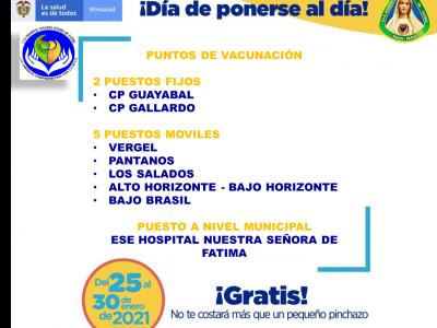 PUNTOS DE VACUNACIÓN (25 AL 30 DE ENERO DEL 2021)
